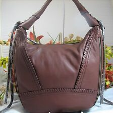 Gorgeous ORYANY Michelle Large Brown Leather Expandable Hobo MSRP $275 NWT