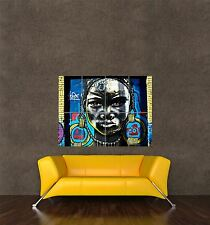 POSTER PRINT PAINTING GRAFFITI STREET BOGOTA AFRICAN WOMAN COLOURFUL SEB454