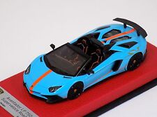 1/43 Looksmart Lamborghini Aventador SV LP750-4 Baby Blue / Orange SV Stripe