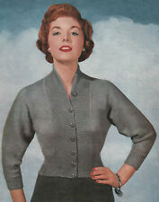 Knitting Pattern Vintage Lady's  1950s fitted Cardigan. 34 to 38 Inch Bust.