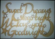 "3mm MDF Laser Cut blank craft sign/plaque ""Sweet dreams sleep tight..."""