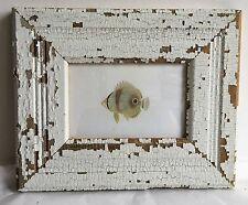 "1890's Antique Wood Picture Frame 4"" x 6"" Shabby Reclaimed Chic White A3 Vintage"