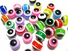 200 Mixed Colour Acrylic Evil Eye Ball Round Beads 8mm