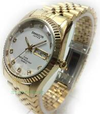 SWANSON MENS WHITE FACE GOLD JAPAN,CRYSTAL,DAY,DATE,50M WATER RESISTANT NEW