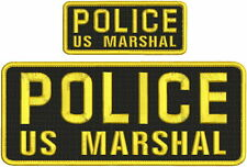 "POLICE US MARSHAL mbroidery patches 4x10 and 2x5"" hook on back end goold letters"