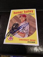 Homer Bailey Reds Signed 2008 Topps Heritage Card IP COA