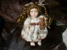 "Dandee Collectors Musical 10"" Porcelain Doll w/Jointed Bear #0237"