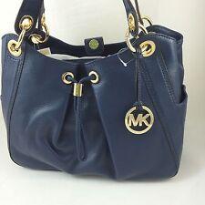 NEW Michael Kors Ludlow Large Leather Satchel Shoulder Bag Purse Handbag in Navy