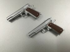 Custom Made 1/6 Scale Silver Police Pistol X 2 Fit Hot Toys Dam Body Head