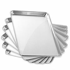 "6 Pans 13"" x 18"" Cookie Sheet Baking Tray Half Sheet Commercial Grade Aluminium"