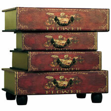 Vintage Red Flower Book Table / Chest of Drawers - FREE UK SHIPPING!!