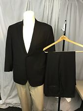 ISAIA Napoli Mens 2-BTN 100% Wool 2 Piece BLACK Suit Size 46 R US STUNNING!