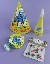 Smurfs - Original 1980s Party Hat, Horn, Blowout & Packet of Stickers - Unused