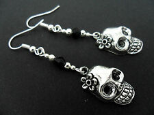 A PAIR TIBETAN SILVER  & BLACK BEAD  DANGLY SKULL FLOWER HALLOWEEN EARRINGS.