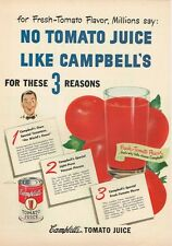 """Food Campbell's Tomato Juice 3 Reasons 1949 paper ad 10¼ x 14"""" inch Trove"""