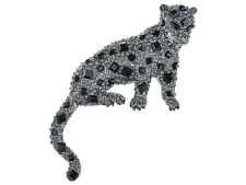 Beautiful Antique Jet Shy Leopard Cat Crystal Rhinestone Pin Brooch New