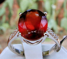 5.40ct Genuine Ciana Hessonite Garnet w/Accents Solid 10k White Gold Ring Size 7