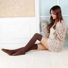 Coffee Lady Knit Cotton Over Knee Thigh Stockings High Socks Pantyhose Tights
