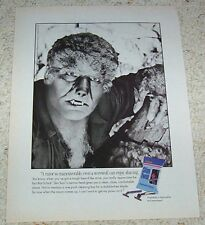 1991 ad page - Werewolf Lon Chaney Jr. for Schick shaving razors PRINT ADVERT