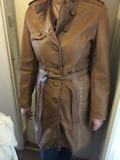 Lakeland Womens Tan Distressed Leather Trench Coat: Size 16