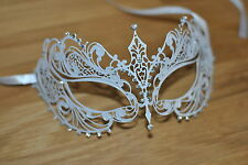 Venetian White Metal Mask Filigree Masquerade Diamante Ball. Prom/Ball/Wedding.