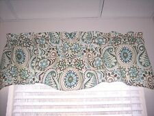 *WAVERLY PAISLEY PRISM LATTE MODERN ESSENTIALS SCALLOPED LINED Valance Curtains!
