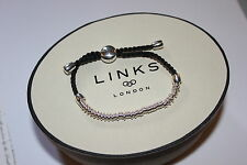GENUINE LINKS OF LONDON STERLING SILVER SWEETIE XS WITH BLACK CORD BRACELET