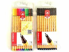 10 + 10 STABILO POINT 88 PACK FINELINERS MIXED COLOURS & BLACK PENS SCHOOL ART