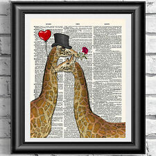 Old book page dictionary art print love Giraffes and rose wall decor poster
