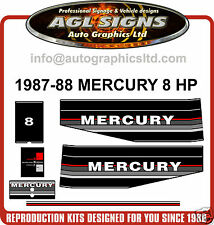 1987 - 1988 MERCURY 8 HP OUTBOARD MOTOR DECAL SET