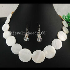 White Mother of Pearl Shell Beads Necklace Earrings Set FG4974