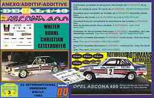 ANEXO DECAL 1/43 OPEL ASCONA 400 ROTHMANS WALTER ROHRL SWEDISH R. 1982 (07)