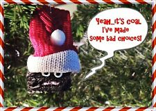 NAUGHTY COAL ORNAMENT w/ SANTA HAT for CHRISTMAS PARTY, GAG GIFT, SECRET SANTA