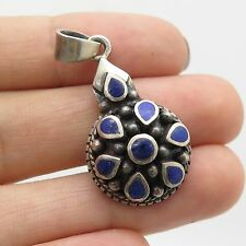 Vintage Sterling Silver Blue Lapis Lazuli Gem Beaded Round Convex Drop Pendant