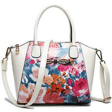 Women Designer Patent Leather Flower Shoulder Handbag Tote Bag Blue