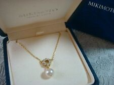 "Authentic  ""MIKIMOTO""  7.7mm Akoya Pearl & Diamond Necklace 18k  gold"