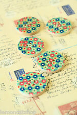 Sky Blue Flowers Buttons pretty floral sewing notions scrapbooking cardmaking