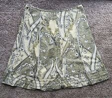 ANN TAYLOR Green and White Floral Pattern A-Line Skirt Size 14 100% Cotton