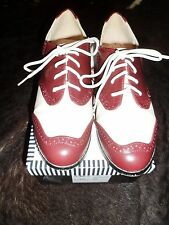 BOXED LINDY BOP ETHEL WINE CREAM BROGUES SHOES ROCKABILLY 40s 50s VINTAGE PINUP