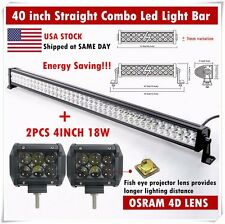 40inch ATV Combo Led Light bar + 4inch OSRAM 4D Flood Work Lamp Offroad SUV Jeep