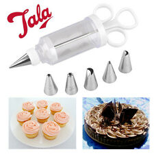 6 Nozzles Icing Syringe Set Cake Decorating Biscuits Cupcake Designs Bakery TALA