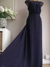 MONSOON NAVY BLUE IVORY PEARL BEADED LACE PANEL MAXI DRESS XMAS BALL GOWN 18