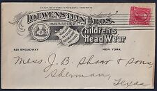 US 1903 LOWENSTEIN BROS CHILDRENS HEAD WEAR ADVERTISING COVER ON NY TO SHERMAN