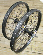 "Wheel Set 20"" BMX Park 3/8 Front 3/8 Flip Flop Rear Double Walled Rims New"