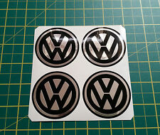 4 x 50mm ALLOY WHEEL STICKERS VW logo Chrome Effect on Black centre cap badge