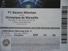 TICKET UEFA CL 2011/12 Bayern München - Olympique Marseille
