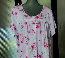 ARIA Short Sleeve LONG Pink & White Floral SIZE 2X Night Gown NWT msrp $52