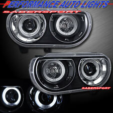08-14 DODGE CHALLENGER DUAL CCFL HALO PROJECTOR HEADLIGHTS BLACK HALOGEN TYPE