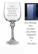 Personalised Engraved Crystal Wine Glass, wedding gifts, bridesmaid gifts boxed
