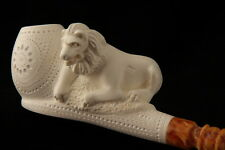 Lion King of the Forest Hand Carved Meerschaum Pipe in a fit CASE 6466